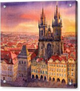 Prague Old Town Square 02 Acrylic Print by Yuriy  Shevchuk