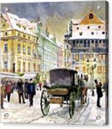 Prague Old Town Square Winter Acrylic Print by Yuriy  Shevchuk