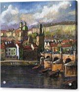 Prague Panorama Charles Bridge Prague Castle Acrylic Print by Yuriy  Shevchuk