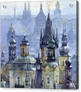 Prague Towers Acrylic Print by Yuriy  Shevchuk