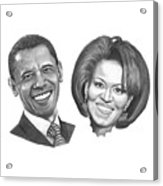 President And First Lady Obama Acrylic Print by Murphy Elliott