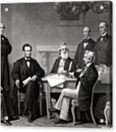 President Lincoln And His Cabinet Acrylic Print by War Is Hell Store