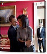 President Obama Hugs First Lady Acrylic Print by Everett