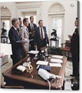 President Reagan And His White House Acrylic Print by Everett