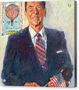 President Reagan Balloon Stamp Acrylic Print by David Lloyd Glover