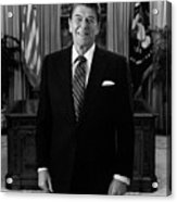 President Ronald Reagan In The Oval Office Acrylic Print by War Is Hell Store
