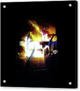 Projection - Body - Car Fire #1 Acrylic Print by Conor OBrien