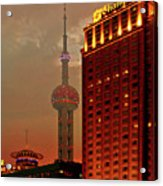 Pudong Shanghai - First City Of The 21st Century Acrylic Print by Christine Till