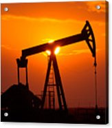 Pumping Oil Rig At Sunset Acrylic Print by Connie Cooper-Edwards