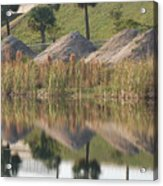 Pyrimids By The Lakeside Cache Acrylic Print by Rob Hans