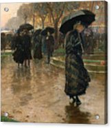 Rain Storm Union Square Acrylic Print by Childe Hassam