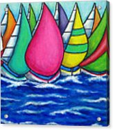 Rainbow Regatta Acrylic Print by Lisa  Lorenz