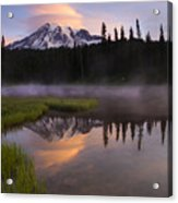 Rainier Lenticular Sunrise Acrylic Print by Mike  Dawson