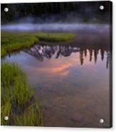 Rainier Sunrise Cap Acrylic Print by Mike  Dawson