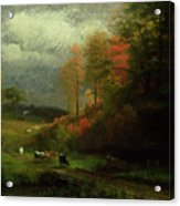 Rainy Day In Autumn Acrylic Print by Albert Bierstadt