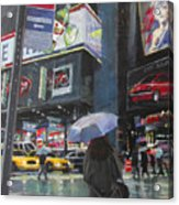 Rainy Day In Times Square Acrylic Print by Patti Mollica
