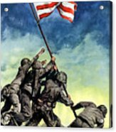Raising The Flag On Iwo Jima Acrylic Print by War Is Hell Store