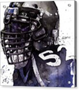 Ray Lewis -  Last Game Acrylic Print by Michael  Pattison