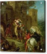 Rebecca Kidnapped By The Templar Acrylic Print by Ferdinand Victor Eugene Delacroix