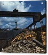 Recycling Scrap Steel During World War Acrylic Print by Everett