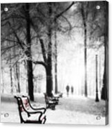 Red Benches In A Park Acrylic Print by Jaroslaw Grudzinski
