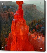 Red Glow Of The Sunrise On Thor's Hammer In Bryce Canyon Acrylic Print by Pierre Leclerc Photography