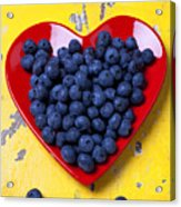 Red Heart Plate With Blueberries Acrylic Print by Garry Gay