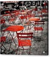 Red In My World - New York City Acrylic Print by Angie Tirado