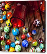 Red Jar With Marbles Acrylic Print by Garry Gay
