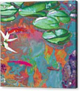 Red Koi In Green Disguise Acrylic Print by Judy Loper