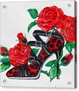 Red Leopard Roses Acrylic Print by Karon Melillo DeVega