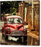 Red Retromobile. Morris Minor Acrylic Print by Jenny Rainbow