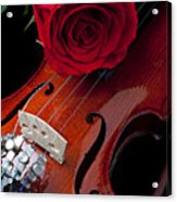 Red Rose With Violin Acrylic Print by Garry Gay
