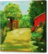 Red Shed Acrylic Print by Julie Lueders