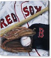 Red Sox Number Six Acrylic Print by Jack Skinner