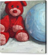 Red Teddy And A Blue Ball Acrylic Print by William Noonan