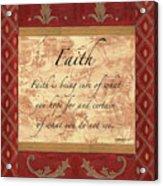 Red Traditional Faith Acrylic Print by Debbie DeWitt
