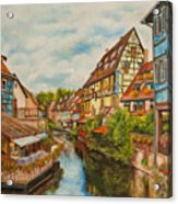 Reflections Of Colmar Acrylic Print by Charlotte Blanchard