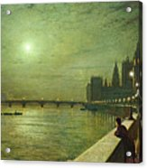 Reflections On The Thames Acrylic Print by John Atkinson Grimshaw