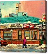 Restaurant Greenspot Deli Hotdogs Acrylic Print by Carole Spandau