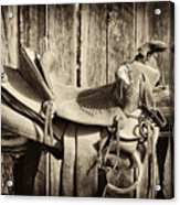 Retired Saddle Acrylic Print by Christine Hauber