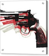 Revolver On White - Left Facing Acrylic Print by Michael Tompsett