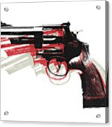 Revolver On White Acrylic Print by Michael Tompsett