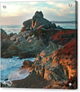 Ribera Beach Sunset Carmel California Acrylic Print by Charlene Mitchell