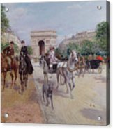 Riders And Carriages On The Avenue Du Bois Acrylic Print by Georges Stein