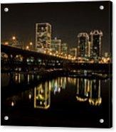 River City Lights At Night Acrylic Print by Tim Wilson