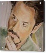 Robert Downey Jr Iron Man Acrylic Print by Angela Schwengler