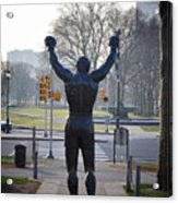 Rocky Statue From The Back Acrylic Print by Bill Cannon