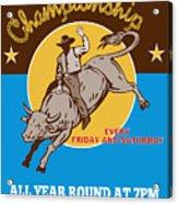 Rodeo Cowboy Riding  A Bull Bucking Acrylic Print by Aloysius Patrimonio