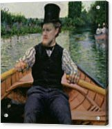 Rower In A Top Hat Acrylic Print by Gustave Caillebotte